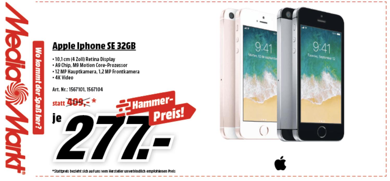 [mediamarkt] iPhone SE 32GB um 277€