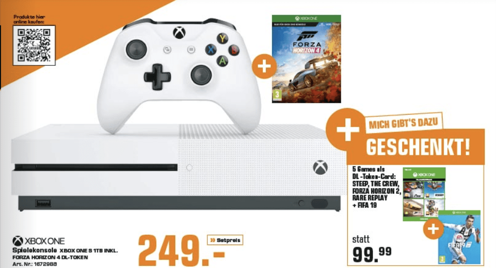 [saturn.at] Xbox One S 1TB + Forza Horizon 4 + Fifa 19 + Steep + The Crew + Forza Horizon 2 + Rare Replay za 249€
