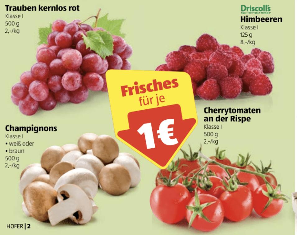 [hofer] grožđe, maline, šampioni, jabuke i rajčice za 1€ do 27.03.2019.