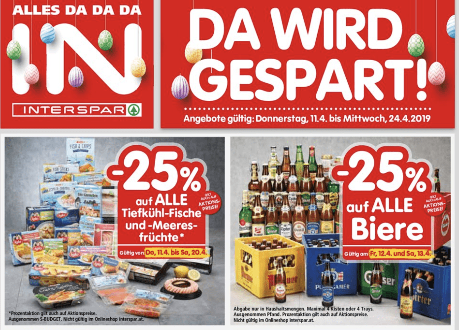 [interspar] -25% na piva i na smrznutu ribu i morske plodove